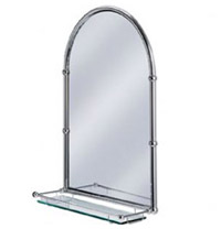 Arched Framed Mirror With Shelf